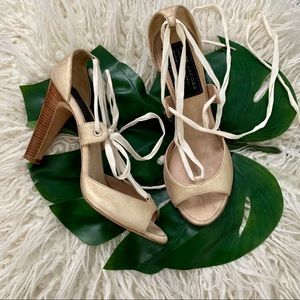 Marc Jacobs Lace Up Gold Heels Size 10.5
